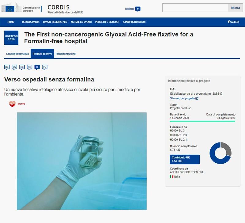 articolo cordis ospedali senza formalina
